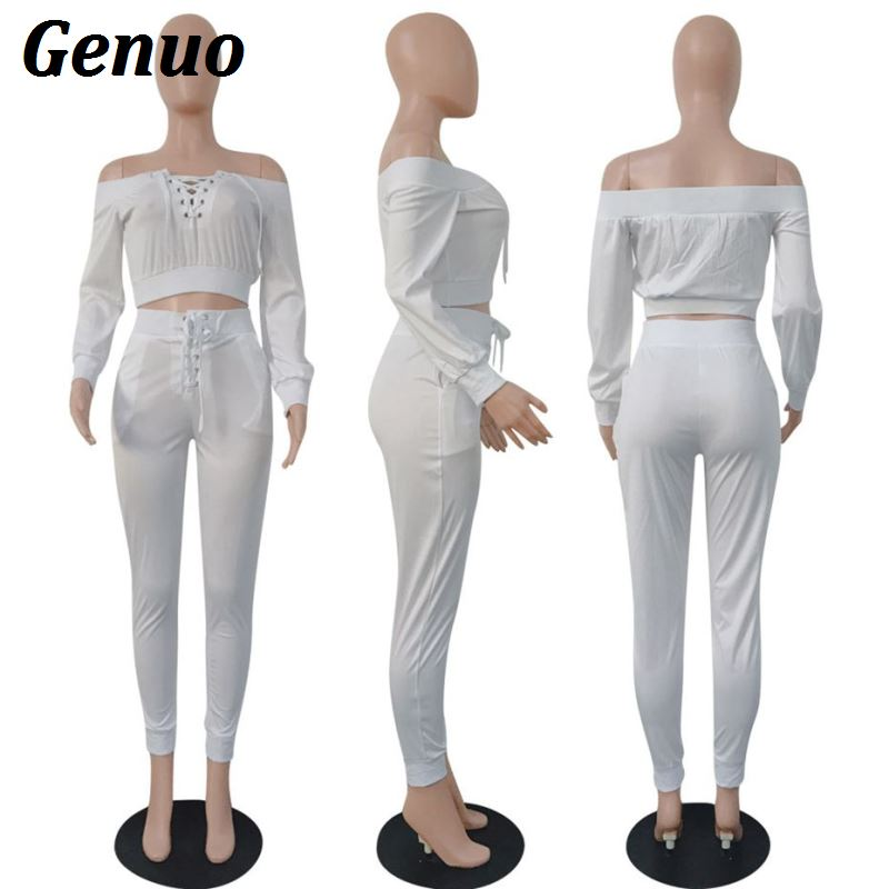 Genuo Two Piece Set Lace Up Bandage Off Shoulder Long Sleeve Top and Pant Suit Sexy Club Outfits 2 Piece Matching Sets Tracksuit in Women 39 s Sets from Women 39 s Clothing
