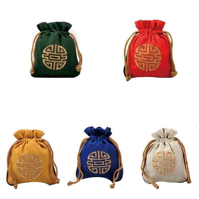 Bolsas lindas de varios colores bolsas de regalos de la suerte vacaciones interesantes para hombres mujeres dulces bolsas pequeñas de lino dulces bolsas buenas suerte encantadora