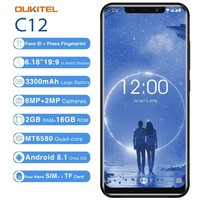 Oukitel C12 2GB 16GB Cell Phone 6.18 19:9 Face Id Mtk6580 Quad Core Android 8.1 8MP+2MP Fingerprint 3300mah Unlock Smartphone