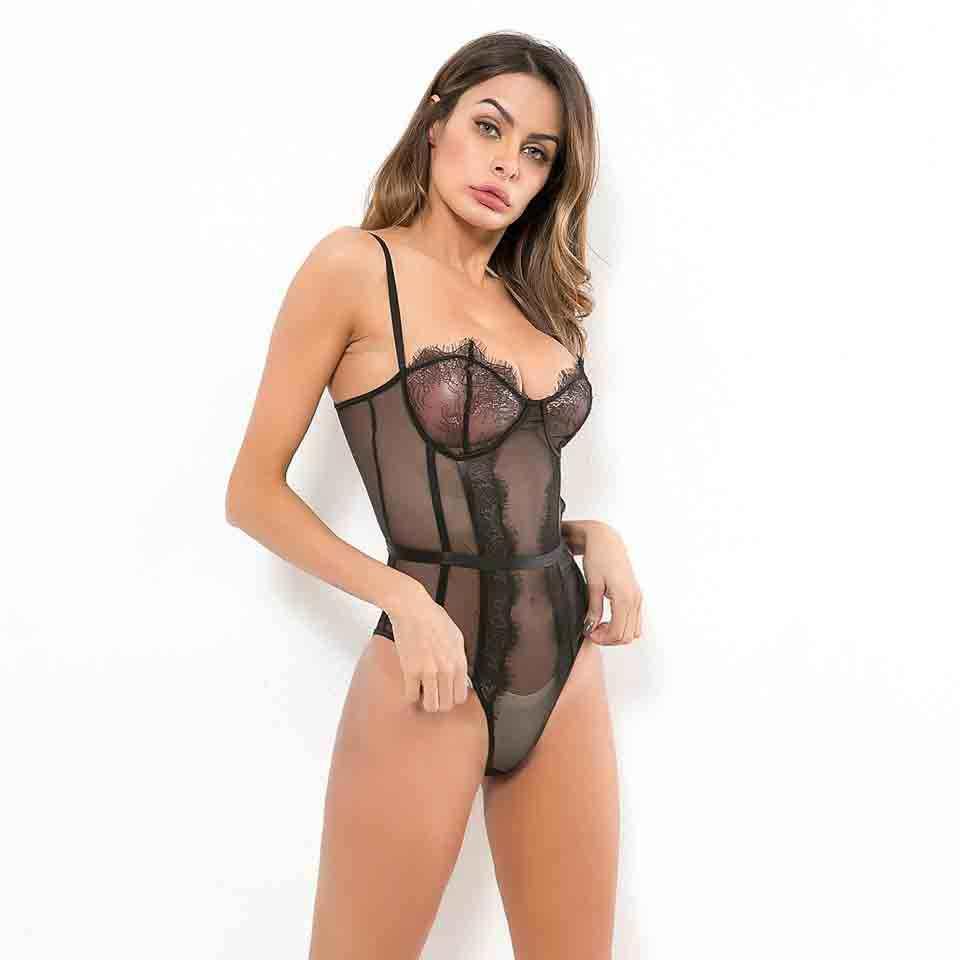 Karlofea сексуальная ночная рубашка с Тедди Цельный боди сексуальная тонкая черная кружевная сеточка боди детские комбинезоны прозрачное боди Топ