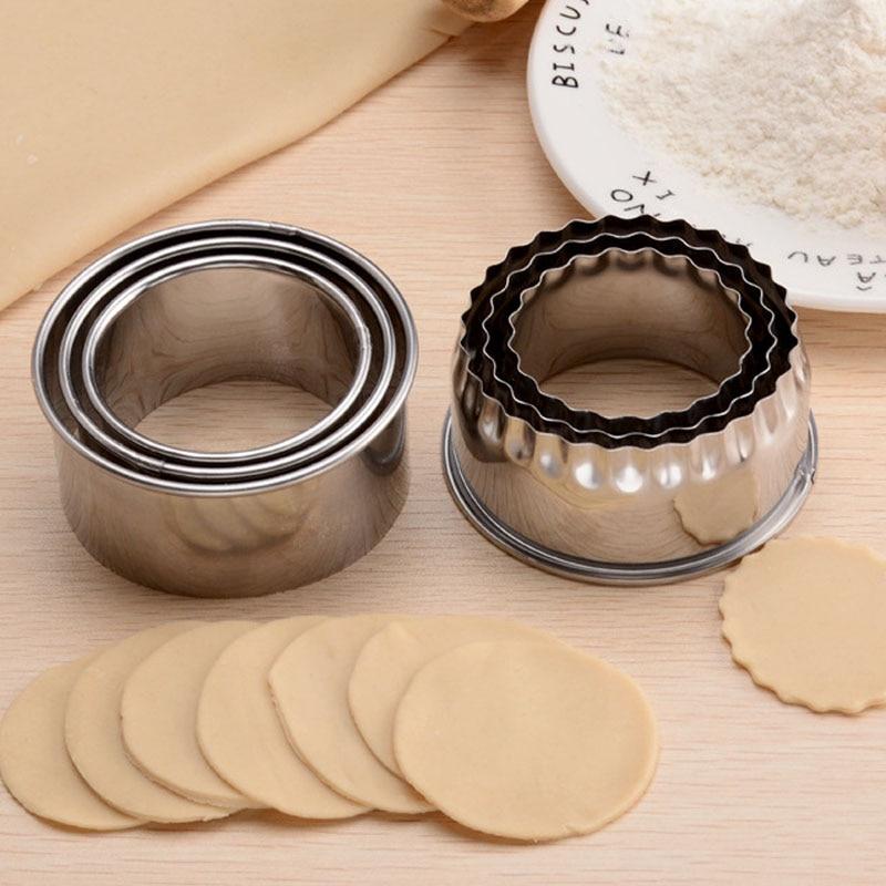 3Pcs Round/Flower Shaped Dough Cutting Tool Kitchen Gadgets Stainless Steel Dumplings Cutter Portable Dumplings Wrappers Molds