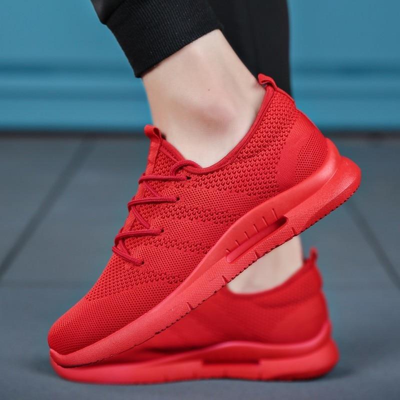 7c4c09a25 Marca Mens sapatos Casuais Leves tênis masculinos malha Respirável adulto  Moda plana Calçado Zapatillas Hombre tamanho Grande 39-46