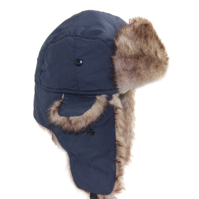 d315d3517cc Unisex Men Women Russian Hat Trapper Bomber Warm Trooper Ear Flaps Winter  Ski Hats Solid Casual
