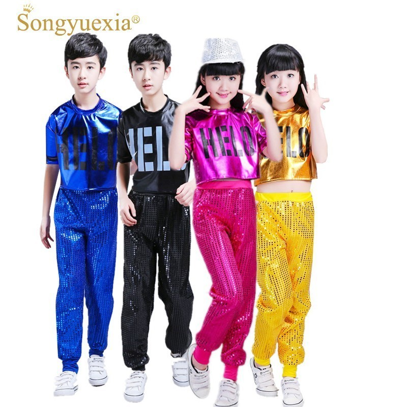 Songyuexia Children's Paillette Jazz Modern Dance Clothing Gril Boy Cheerleading Hip Hop Dance Performance Costumes