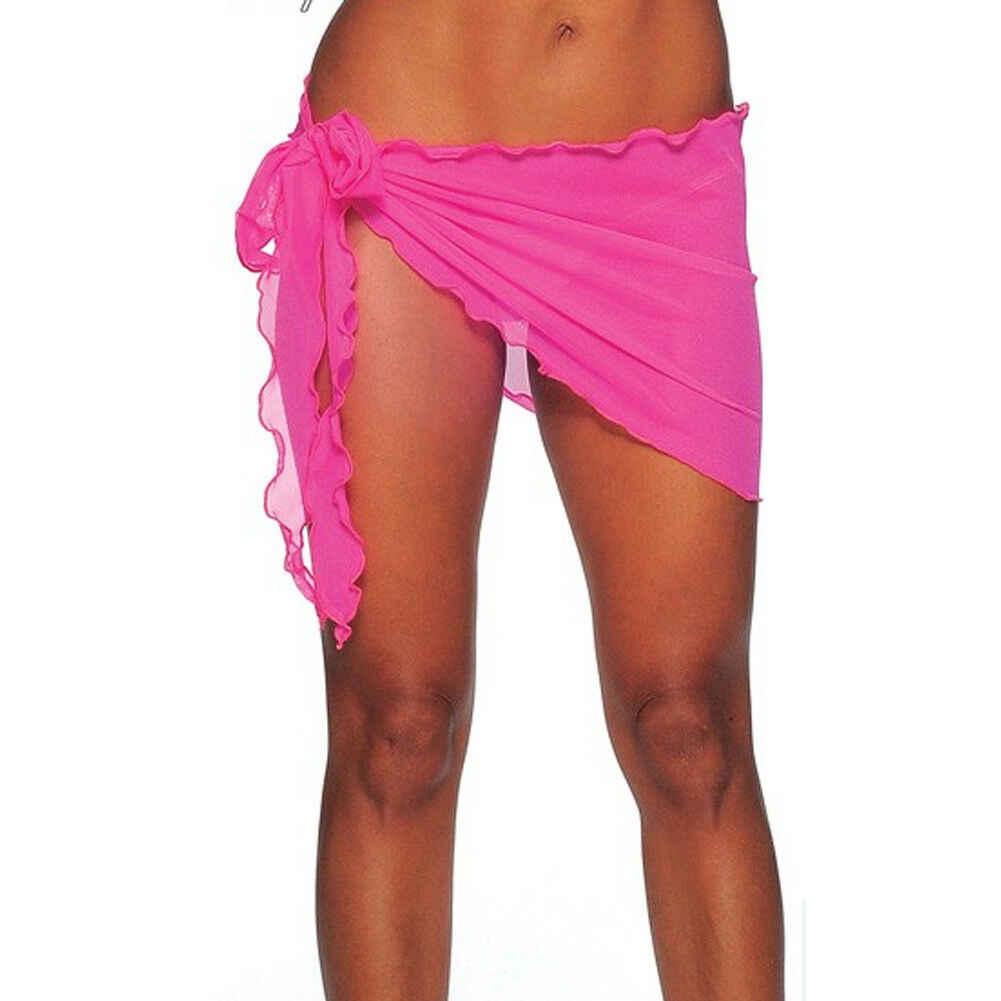 Nuove Donne di Arrivo Solido lato Regolata Lungo Chiffon Abito a Portafoglio Pareo Pareo Beach Bikini Costumi Da Bagno Cover Up Scialle