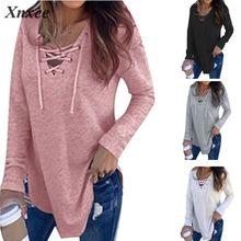 купить 2019 Fashion Women Long Sleeve T-shirts Autumn Winter Sexy Deep V Neck Bandage Shirts Women Lace Up Tops Tees Clothes онлайн