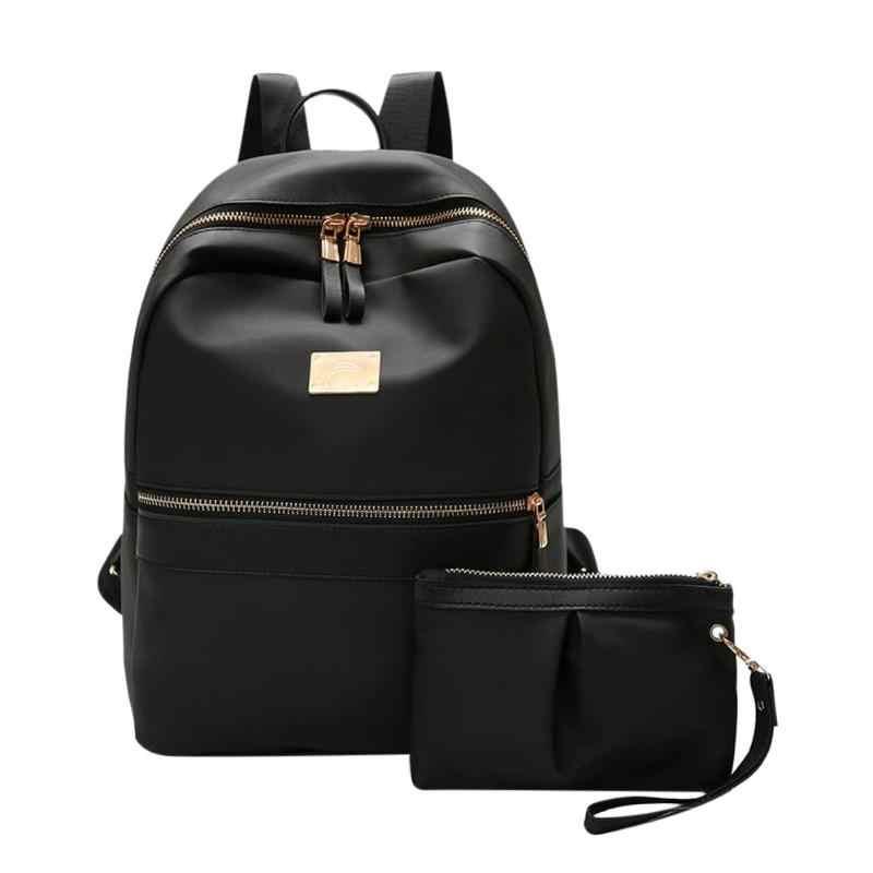 162b170b Detalle Comentarios Preguntas sobre 2 unids/set mochila de mujer de moda  conjunto mochila negra con bolsa pequeña de cuero PU mochila escolar para  mujeres ...