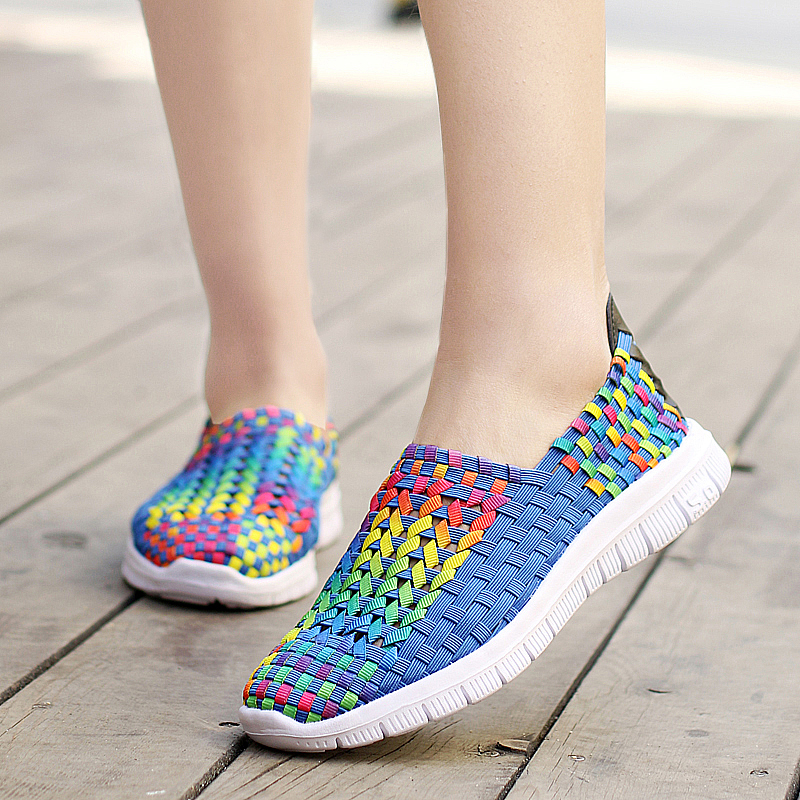 Shoes-Light Weave Female Sneakers Comfortable Fashion Summer Casual Woman Hollow Mesh
