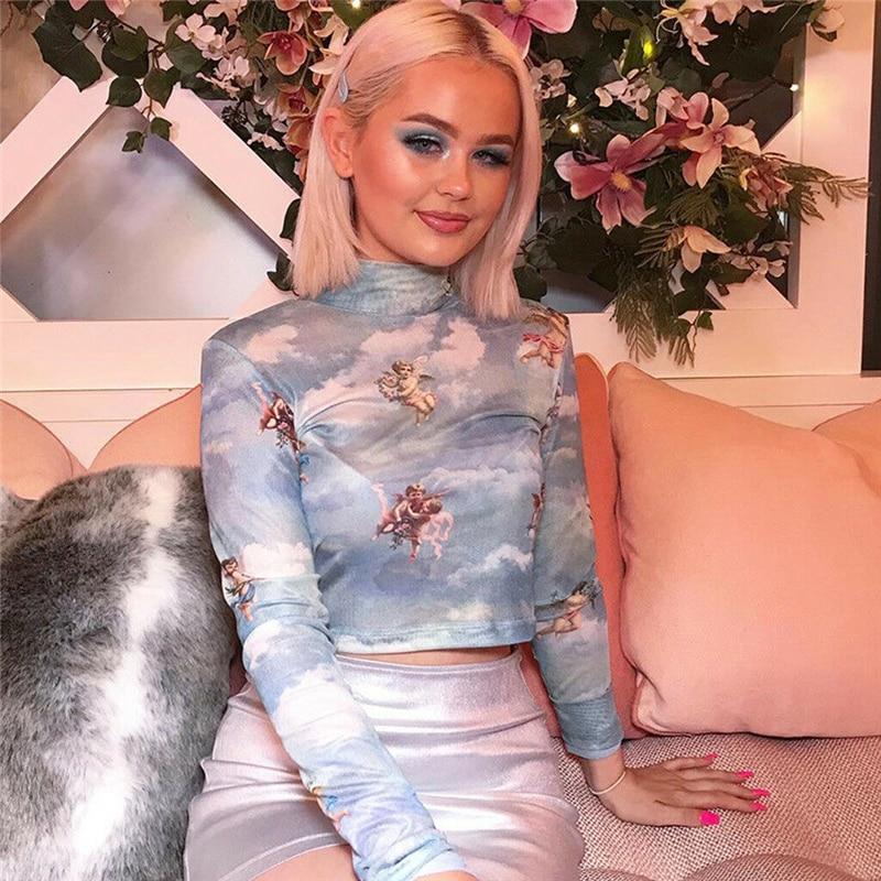 Nowe mody kobiet przezroczysta przezroczysta siateczka kabaretki T-Shirt krótki top ładny anioł wydrukowany kobiet lato topy z siateczki 2