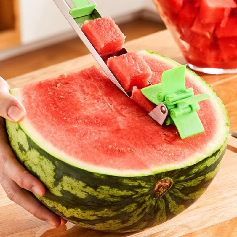 Watermelon Slicer Cutter Windmill Shape Stainless Steel Melon Fruit Knife Tongs Kitchen Gadgets
