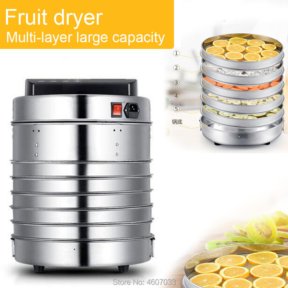 5 plateaux en acier inoxydable déshydrateur alimentaire collations pour animaux de compagnie déshydratation sèche-linge fruits légumes herbe viande séchage Machine 220v ue 110V US