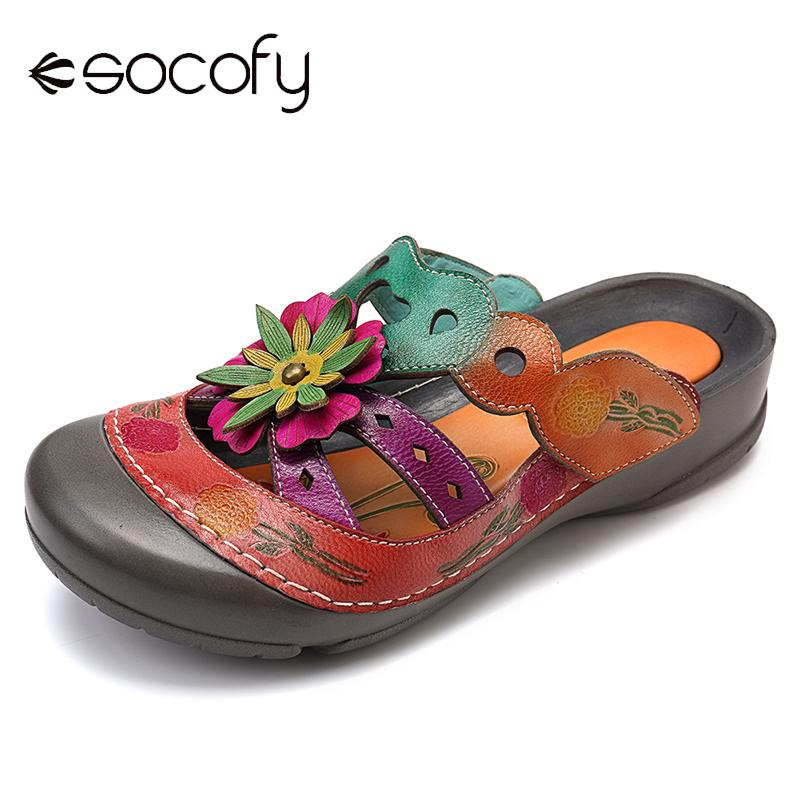 SOCOFY Hand Painted Flat Genuine Leather Splicing Floral Stitching Adjustable Hook Loop Sandals Casual Flat Women Shoes 2019
