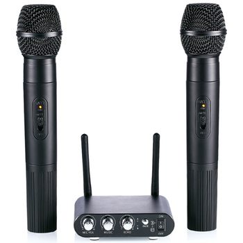 K38 Dual Wireless Microphones With Receiver Box Various Frequency High-End Microphones For Home Entertainment Conference