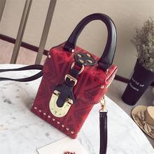 2019 crossbody bags for women leather handbags luxury designer rivet  box plaid shoulder bag sac a main