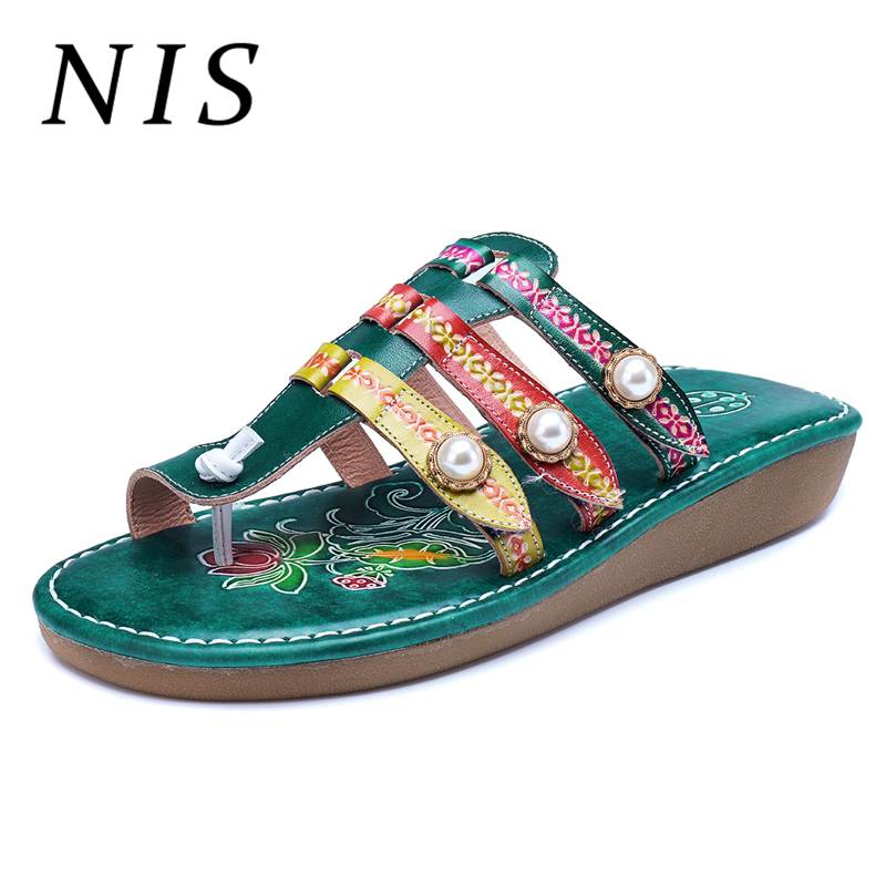 NIS Bohemian PU Leather Flip Flops Women Slides Slippers Retro Printed Striped Clip Toe Slippers Summer