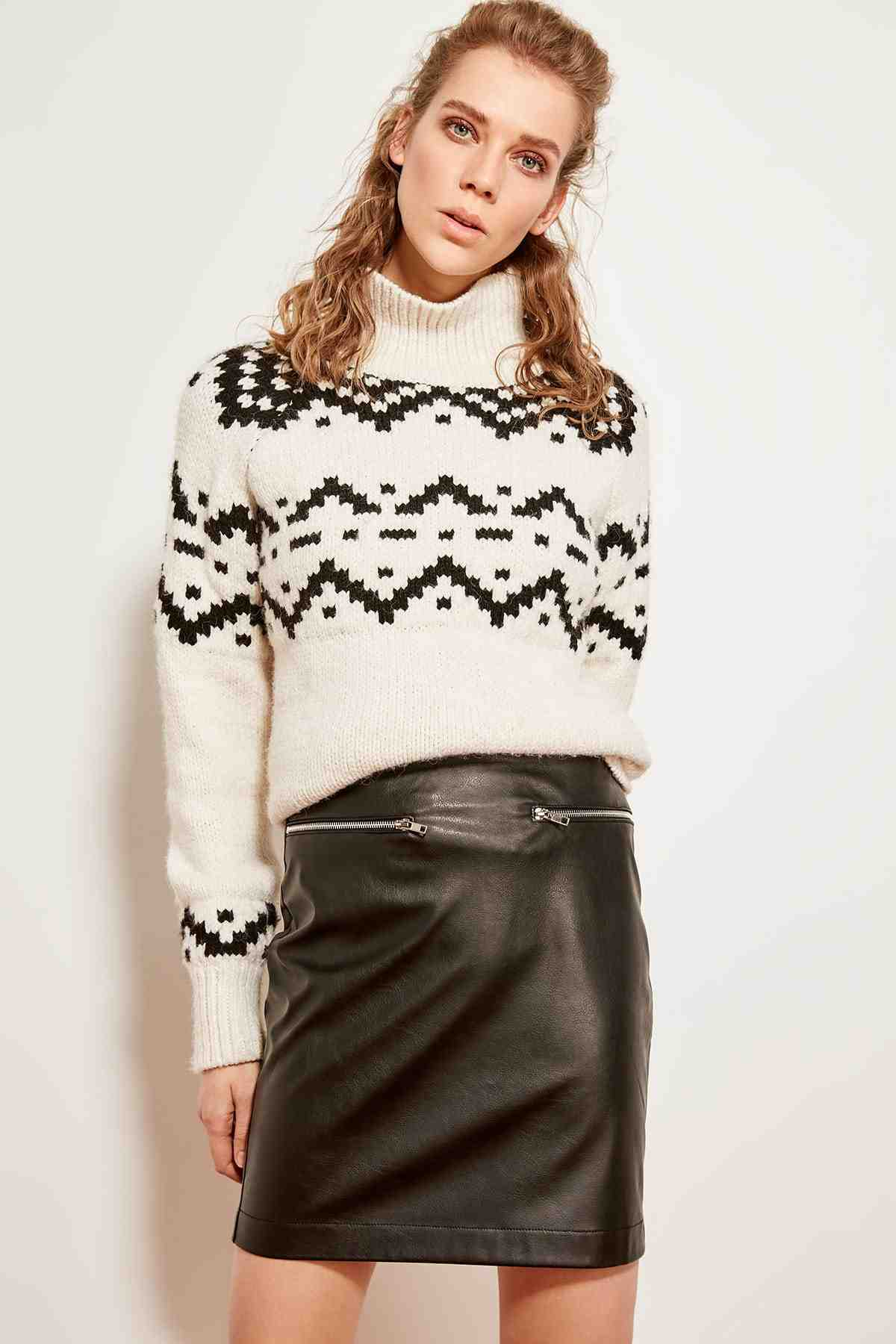 e2a4910ab Trendyol Black Leather Skirt TCLSS19EH0007; Trendyol Black Leather Skirt  TCLSS19EH0007 ...