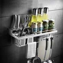 Кухонный стеллаж из нержавеющей стали, кухонная полка, с крючками чашки многофункциональный держатель для специй настенный кухонный Органайзер
