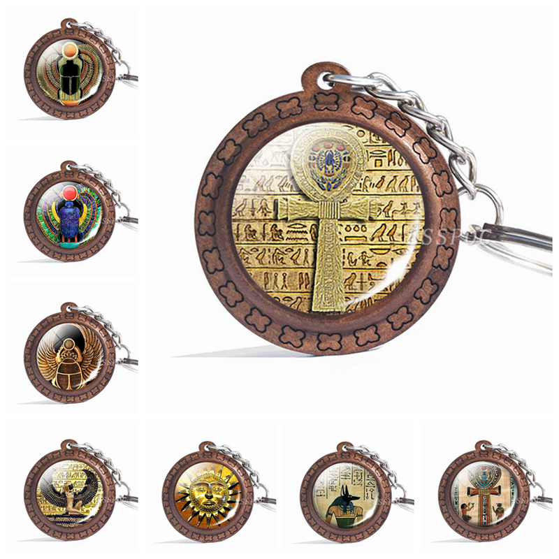 Egyptian Ankh Cross Wooden Keychain Retro Jewelry Ancient Egypt Anubis Scarab Goddess Glass Cabochon Wood Keyring Accessories