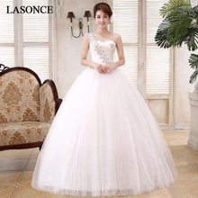 LASONCE Pleat Sweetheart Lace Appliques Ball Gown Wedding Dresses Crystal One Shoulder Tulle Backless Bridal Gowns