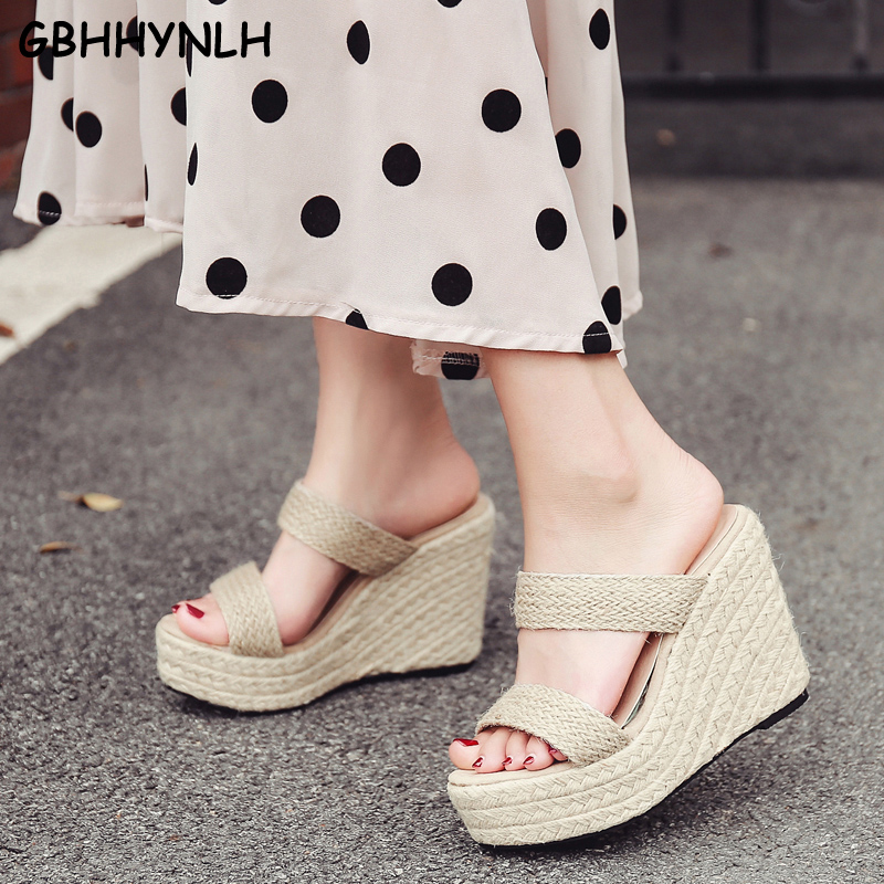 GBHHYNLH Women s Slippers Summer Beach Casual Shoes Sexy Flip Flops Female Slides Bohemian Slippers Wedge