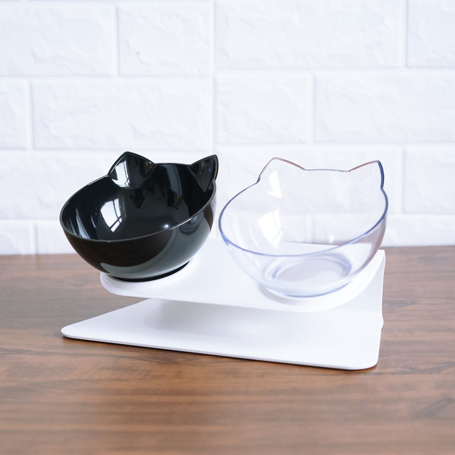 Non slip Cat Bowls Double Bowls With Raised Stand Pet Food And Water Bowls For Cats