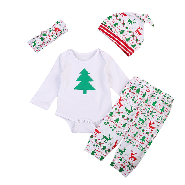 d7b753da6 Emmababy New Cute 4pcs Infant Baby Boy Girl Christmas Clothes Romper Tops  Pants Hat Outfits Set