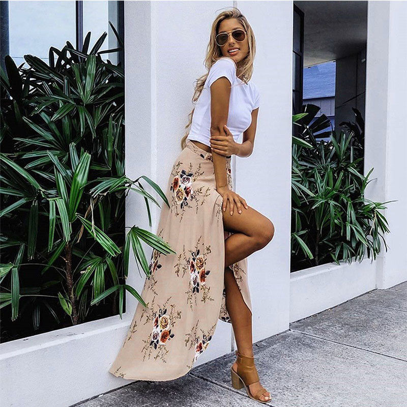 2018 New Summer Hot Women Stretch High Waist Floral Long Skirt Maxi Pleated Beach Casual Boho Polyester Floor-length Skirt