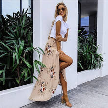 2018 Nieuwe Zomer Hot Vrouwen Stretch Hoge Taille Bloemen Lange Rok Maxi Geplooide Beach Casual Boho Polyester Floor-lengte rok(China)