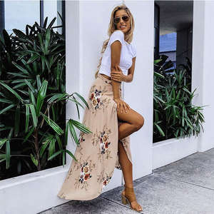 Long Skirt Floor-Length-Skirt Maxi Stretch Pleated Boho Floral High-Waist Women Summer