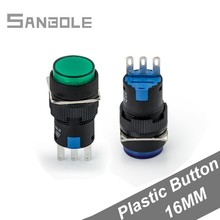 Push Button Switch 16mm Plastic Round Flat Momentary/Self-locking 3 pins 3A/220V Red/Yellow/Green/Blue/White/Black (10PCS) стоимость