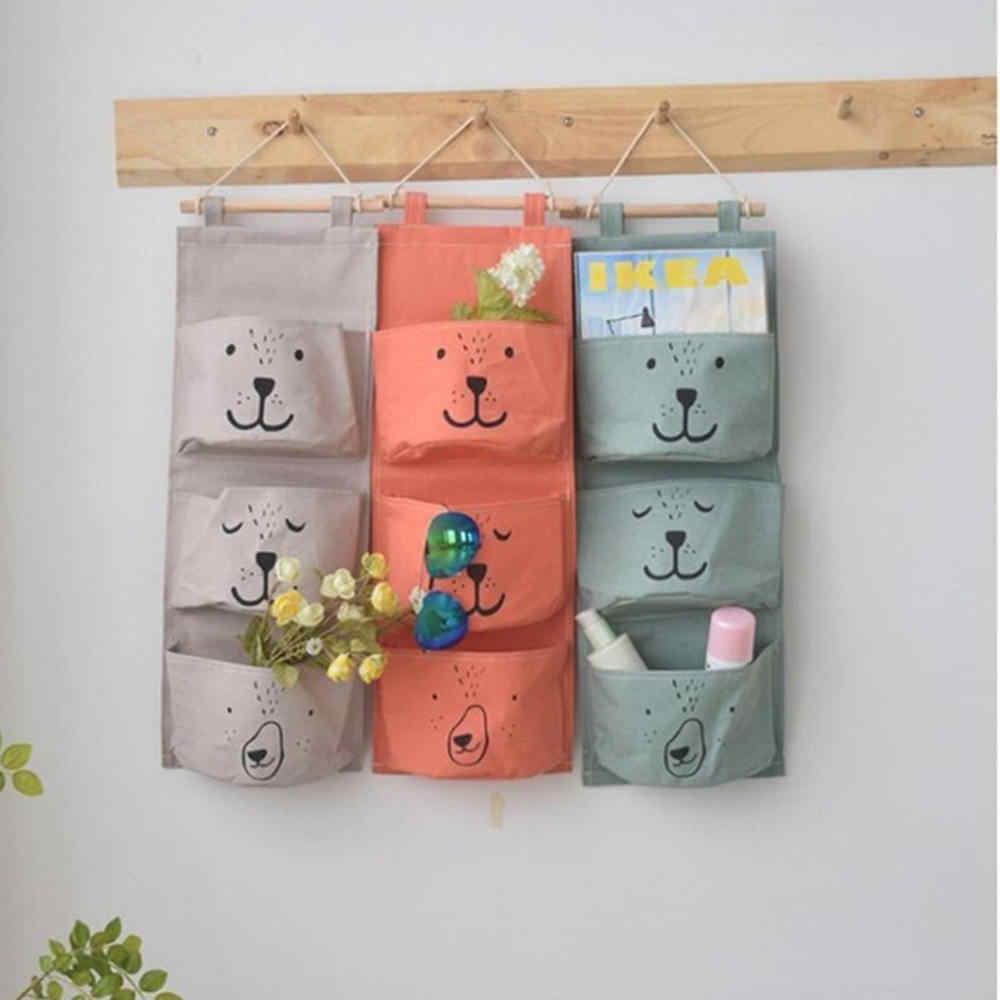 3 כיסים חמוד קיר רכוב אחסון תיק ארגונית ארון בגדים תלויים אחסון תיק ילדי חדר פאוץ בית תפאורה