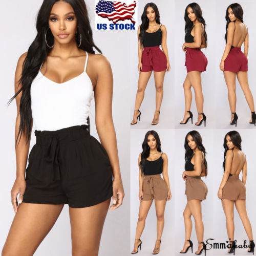 Casual USA Women Summer Casual Beach High Waist <font><b>Shorts</b></font> <font><b>Plus</b></font> <font><b>Size</b></font> Ladies Sports <font><b>Lace</b></font> Up <font><b>Shorts</b></font> Hot image