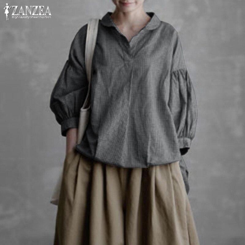 Plus Size Lantern Sleeve Shirts Women's Blouse 2019 ZANZEA Female V Neck Tunic Tops Lady Solid Casual Chemise Kaftan Blusas 5XL