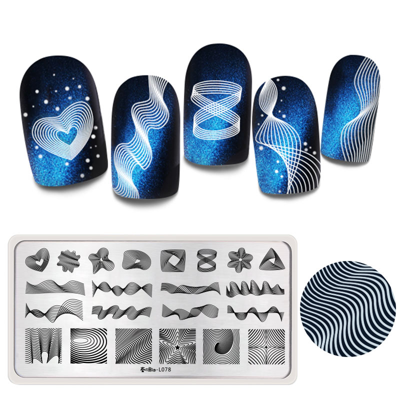 Harunouta Nail Art Stamping Plates Rectangle 3D Geometric Line Floral Image One Stamp Stencils For Nails Manicure Plate