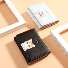 Multi-Card Small Wallet Fresh Cute Cat Womens Short Three-Fold Pu Leather Mini