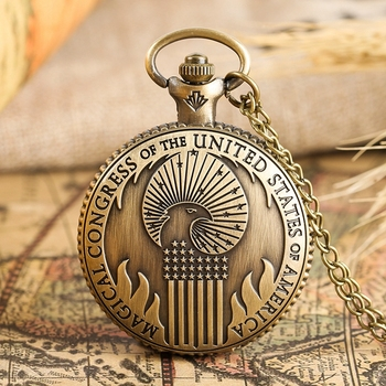 Fantastic Beasts and Where to Find Vintage Quartz Pocket Watch Magical Congress of the United States America Necklace Pendant - discount item  27% OFF Pocket & Fob Watches