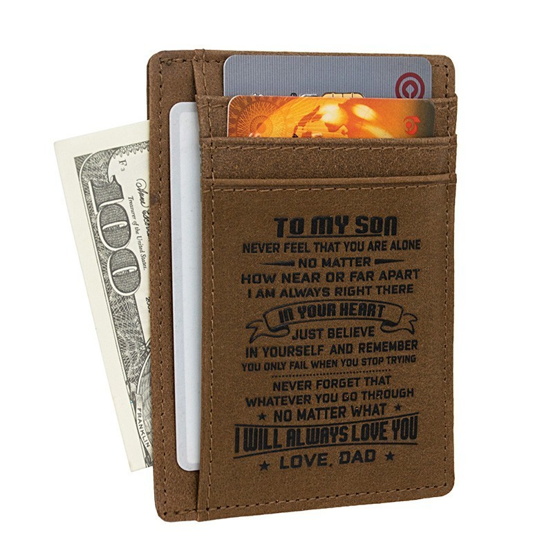 Wife To Husband Father Mother To Son Gift - Engraved Leather Slim Front Pocket Wallet
