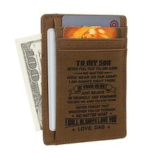 Wife To Husband Father Mother To Son Gift - Engraved Leather Slim Front Pocket Wallet(China)
