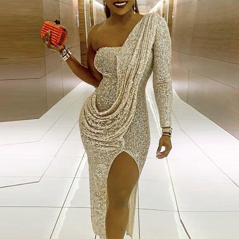 Облегающие платья женские Модные Одно Плечо Сторона Сплит Сексуальная Клубная одежда блесток миди платье ночной клуб вечерние bodycon платье