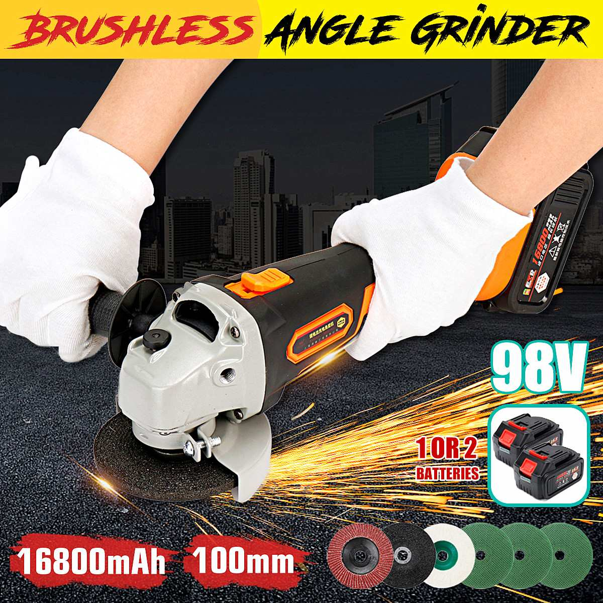 220V Rechargeable Electric Angle Grinder Brushless Motor Wood Metal Cutting Grinding Machine Saw Power Tools 12800mAh Li Battery