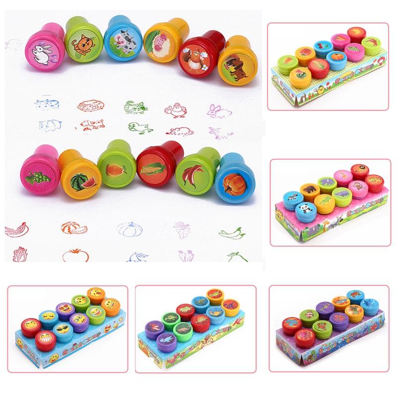 Cartoon Rubber Stamps 1 Box Red Stamp Cute Panda Round Multicolor Fun Child Photo Album Decor Reward Toy DIY Scrapbook