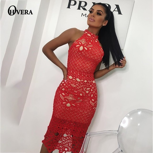 77570d87955 Ohvera Red Black White Lace Dress Women Summer Sexy Party Dresses Elegant Hollow  Out Midi Halter