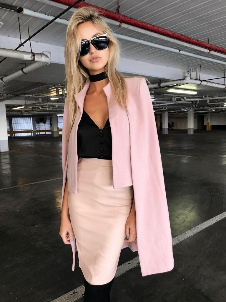 Women Office Lady Business Work Woolen Cloak Coat Sleeveless Slit Sleeve Wool Jacket Cape Elegant Solid Wool Blend Outerwear