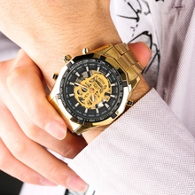 WINNER Automatic Original Watch Men's Skeleton Skull Dial Mechanical Military Wrist Watch Gold Watches for Men Men's Wrist Watch