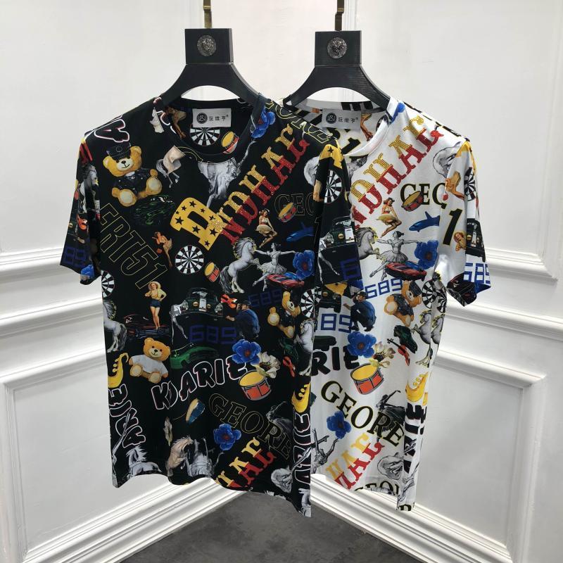 Primavera de 2019 19ss nueva moda camisetas carta Impresión de T camisa para los hombres de algodón