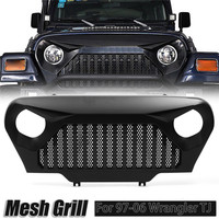 New 1Pcs Car Front intake Grid Black Overlay Grill Grille for Jeep For Wrangler TJ 1997 2006 Automobile Accessories ABS Grille