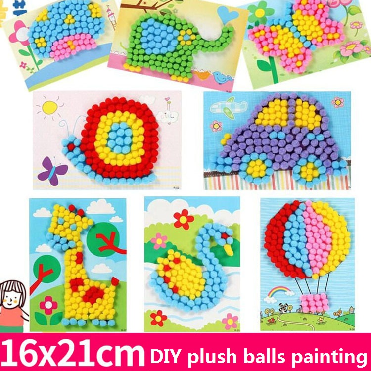 Kids Plush Ball Painting Stickers Creative DIY Handmade Material Educational Toys Children Cartoon Puzzles Crafts Toy