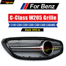For Mercedes-Benz W205 Grille AMG-style ABS Black C200 C250 C300 C180 C400 Without Emblem Front Mesh 2015-in natural car