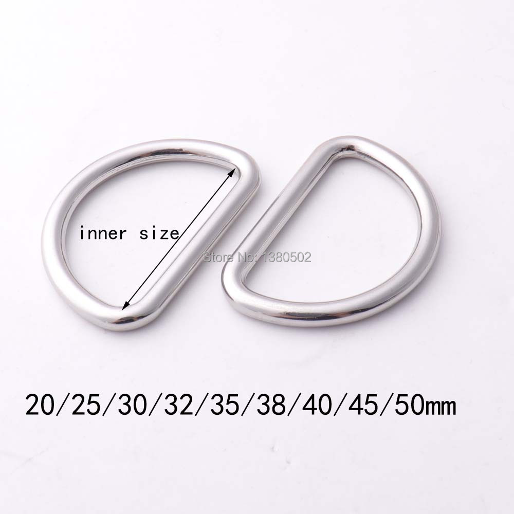 10pcs/lot 20/25/30/32/35/38/40/45/50mm Nickel Plated Color  Alloy D-ring Dee Ring Top Quality Buckle For Belt Backpack Garment