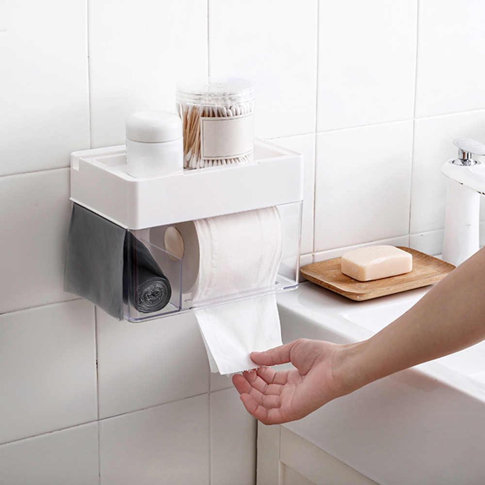 Łazienka wodoodporna Tissue Box wc z tworzywa sztucznego uchwyt na papier do montażu na ścianie pudełko do przechowywania dozownik do chusteczek organizator 2019 nowy
